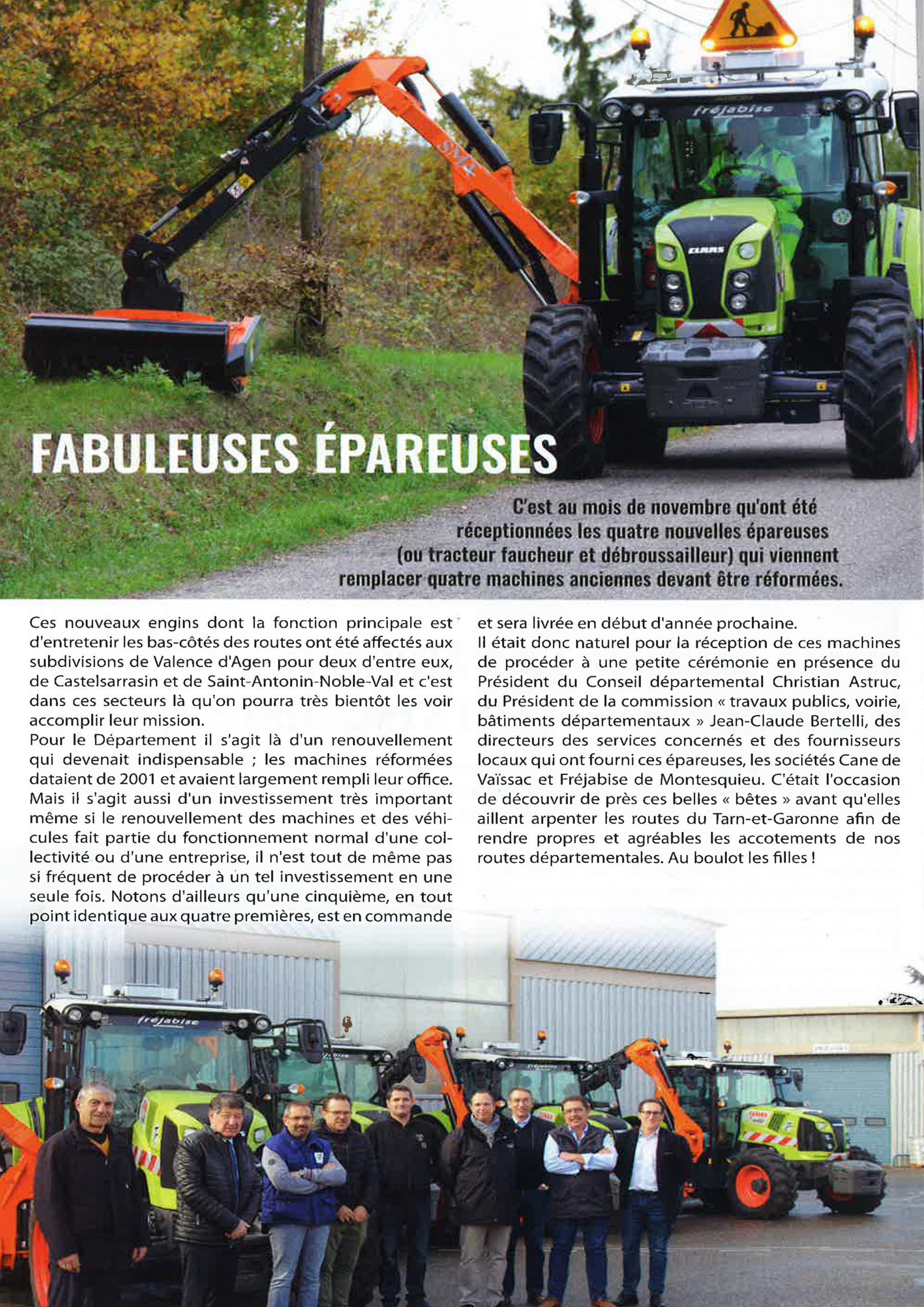 Le Conseil Départemental du Tarn et Garonne parle des épareuses SMA