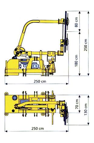 Dimensions des faucheuses sous glissière SMA LIONNE SG 60 (mode route)